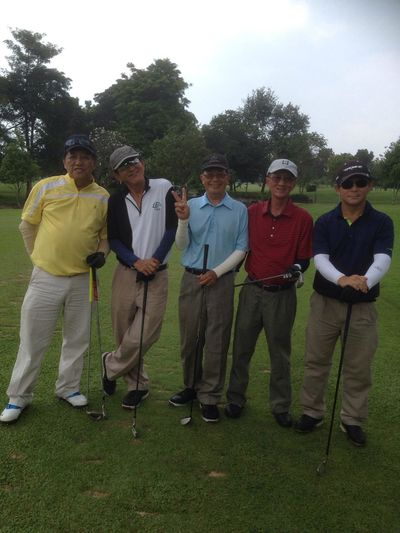 William, James, Huan, me and Ben at Phoenix Golf Course in Pattaya, Thailand