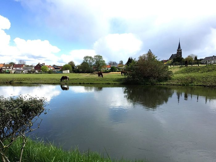 Paysage Reflection Rural Scene Green Path Veloroute Somme Picardie Village Clocher