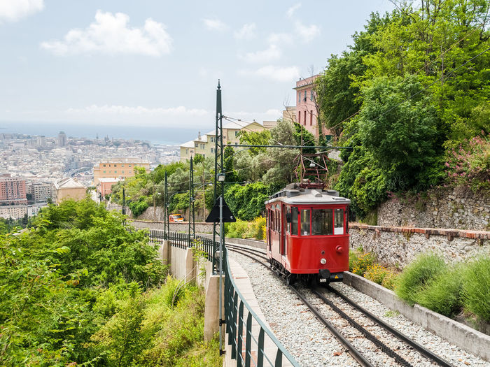 The wagon of an old rack railway connecting the city center of Genoa with the hill district Granarolo City Cityscape Coach Genoa Genova Panorama Panoramic Red Sunny Transportation Wagon  Cog Funicular Granarolo Historical Italy Liguria No People Outdoors Rack Railway Scenics Track Train Urban