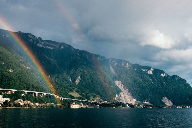 Rainbows and storm clouds over lake geneva