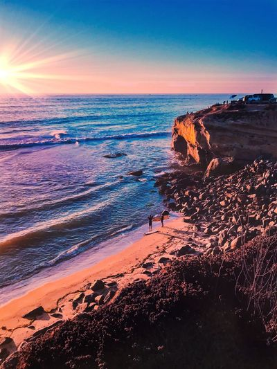 EyeEm Selects Sunset at the Cliffs Sea Sunset Beach Horizon Over Water Water Beauty In Nature Nature Scenics Sky Sand Wave Tranquil Scene Tranquility No People Outdoors Clear Sky Day