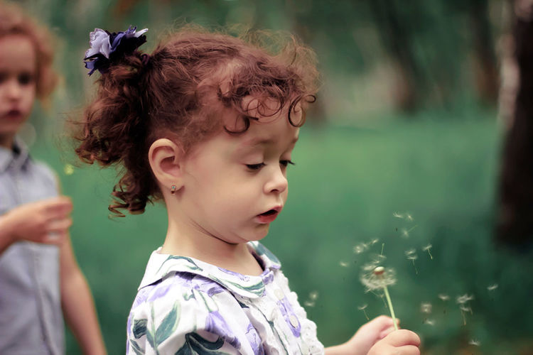 Close-Up Of Cute Girl Playing With Dandelion At Park