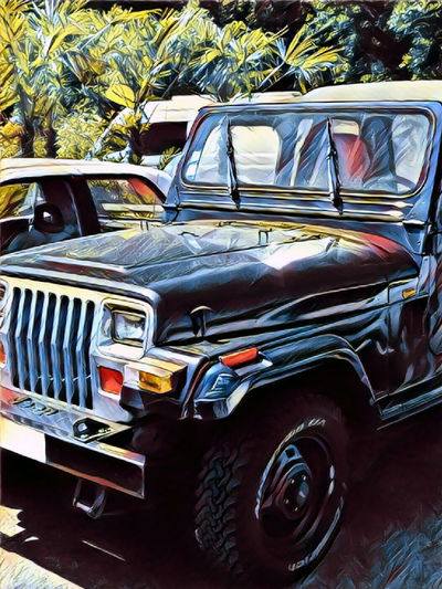 Jeep All Terrain Car All Terrain Car Illustration ArtWork Artistic Edit Colorful Effects And Filters Land Vehicle Palms Sunbeam Warm Themes Summertime No People Illustration Picture Vibrant Colors In France
