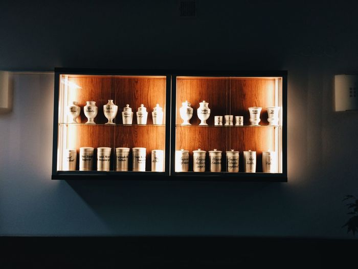 Close-up of candles on wall