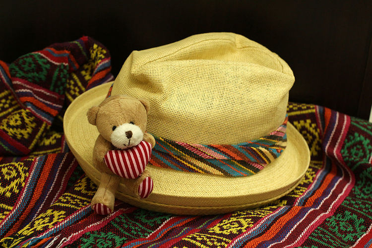 Heartbeat Moments London Black Background Blancket Blanket Close-up Cute Day Hat Indoors  Multi Colored Multicolors  No People Sombrero Sun Hat Teddy Bear Textile