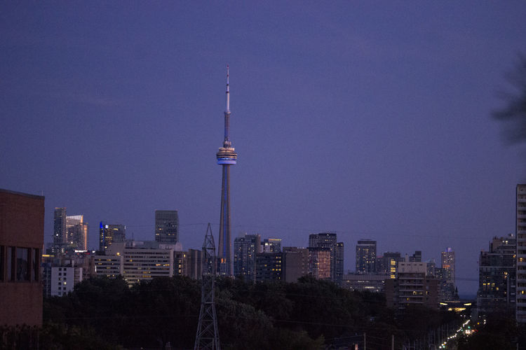 Modern buildings in city at dusk