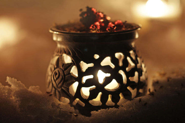 Close-up of tea light candle