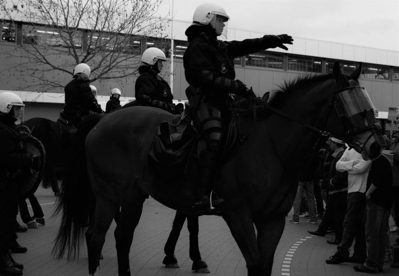 Bergen op Zoom [NL] - 'Step aside please' Black And White Black & White Police Demonstration Dutch Riot Police Public Safety Dutch Police Horse Policehorse Police Horse Mounted Mounted Police People Streetphotography Resist The Photojournalist - 2017 EyeEm Awards The Street Photographer - 2017 EyeEm Awards Interaction EyeEm Selects Press For Progress