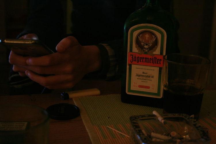 Celebration Cigarette  Drinks Friends Glass Human Hand Jegermeister Phone Table