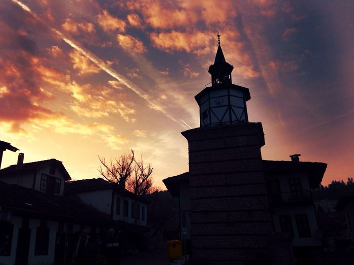 Skylover ❤️ IMography Building Exterior Architecture Built Structure Sunset Sky Cloud - Sky Low Angle View Outdoors No People Silhouette Day Architecture Nature Bulgaria IPhoneography Travel Destinations Tower Tryavna Clock Clock Tower