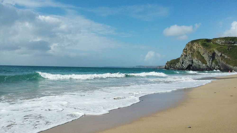 Another day, another beach😊 Sea Beach Sand Wave Water Nature Cloud - Sky Sky Travel Destinations Beauty In Nature Scenics Horizon Over Water No People Tranquility Enjoying Life EyeEm Nature Lover Newquay Cornwall Capture The Moment Summer Landscape Vacations