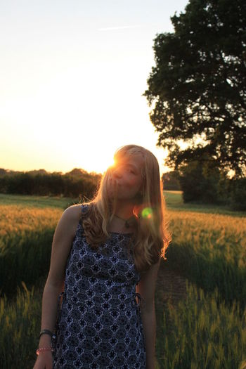 P O R T R A I T.... of me, very rare xD Blonde Girl Sunset Silhouettes Live For The Story One Person Summer EyeEm Gallery NewEyeEmPhotographer Freedom Light And Shadow Portrait Of A Woman The Portraitist - 2017 EyeEm Awards