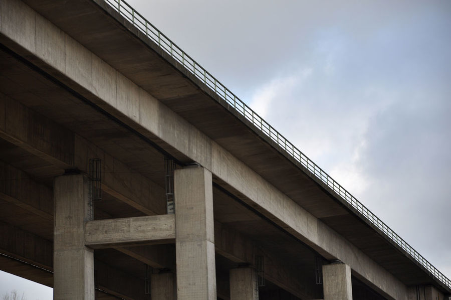 Architectural Column Architecture Below Bridge Bridge - Man Made Structure Built Structure Cloud - Sky Connection Day Engineering Low Angle View Lower Saxony No People Outdoors Sky Transportation Underneath