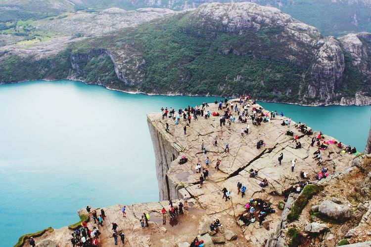 Norway Preikestolen Vacation Traveling Hiking Mountain View Family Pause Enjoying The View Landscapes With WhiteWall