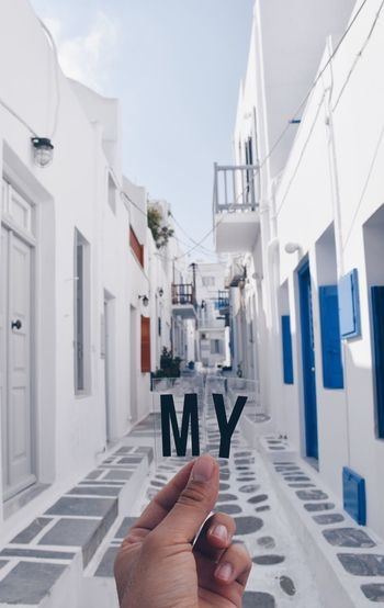 My Mykonos, the alley Blue Door Greek Summer Mykonos,Greece Travel Photography Traveling Vacations Alley Architecture Destination Greece Human Hand Island Real People White