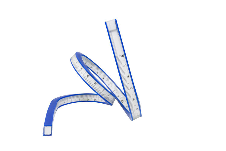 Flexible Curve Ruler White Measurement Centimeter Inch Flexibility Indicator Blue Object Swirl Tool Slim Instrument Number Spiral Length Measure Scale  Accuracy Distance Clipping Path