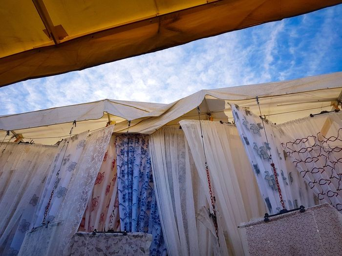 Sky Architecture Day Outdoors Market Curtains Curtains Like Sails Market Umbrellas