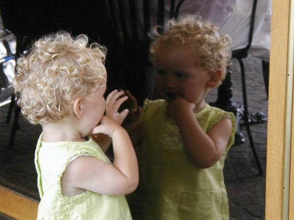 Mirror Childhood Child Real People Family Females Young Women Innocence Hairstyle Curly Hair Family Blond Hair Hair