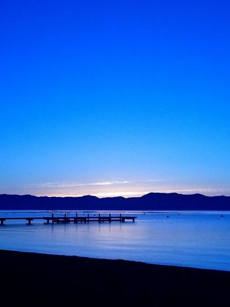 Morning sunrise over Lake Tahoe #sunrise #reflection Water Blue Mountain Silhouette Sky Horizon Over Water