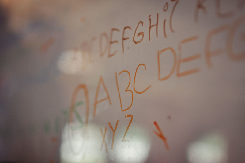 Close-up of text written on glass