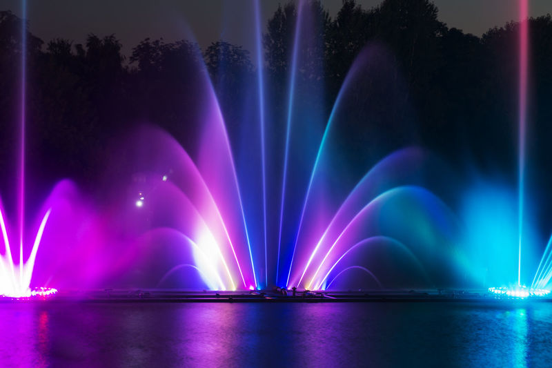 View of illuminated fountain at night