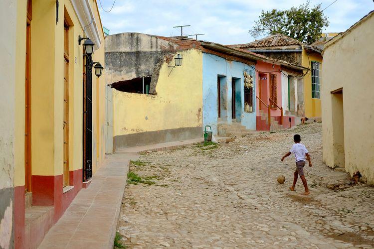 Football is everywhere. Cuba Football Havana Trinidad Architecture Ball Boys Child Childhood Cuban Cuban Life Game Kid Men Outdoors Play Real Madrid Ronaldo The Street Photographer - 2018 EyeEm Awards