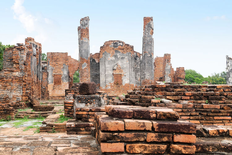 archaeological site at Ayutthaya in Thailand Historical Ancient Civilization Archaeological Sites Architecture Asian  Ayutthaya Building Day History Landmark Landscape Location Old Buildings Outdoors Palace Prehistory Temple Thailand Tourist Travel Travel Destinations Vacations