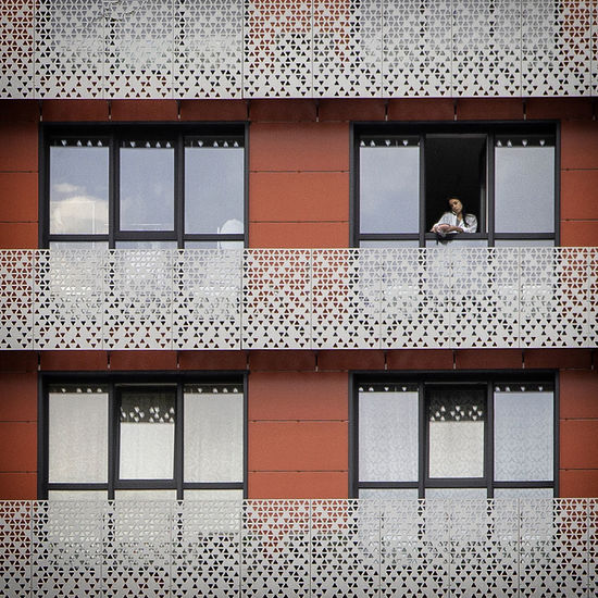 People outside building