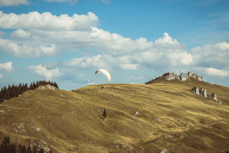 Beauty In Nature Cloud - Sky Day Extreme Sports Landscape Mountain Nature No People Outdoors Paragliding Scenics Sky Tranquil Scene Tranquility