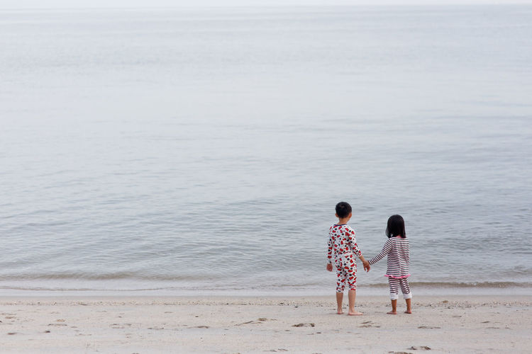 Rear View Of Siblings Holding Hands At Beach
