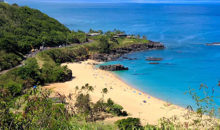Tropical Tropical Climate Looking Down Views Adventure Bay Beach Beauty In Nature Down By The Bay Lagoon Landscape Looking Down From Above Ocean Sea Tropical View From Above Waimea Bay Water