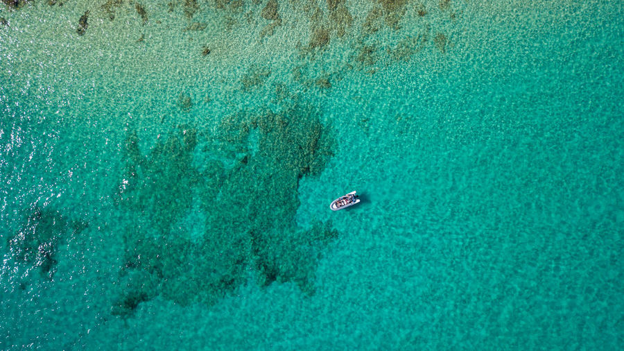 Water High Angle View Turquoise Colored Aerial View Sea Nature Scenics - Nature Beauty In Nature Day Sport Holiday Trip Outdoors Nautical Vessel Waterfront Blue Swimming Vacations People Above