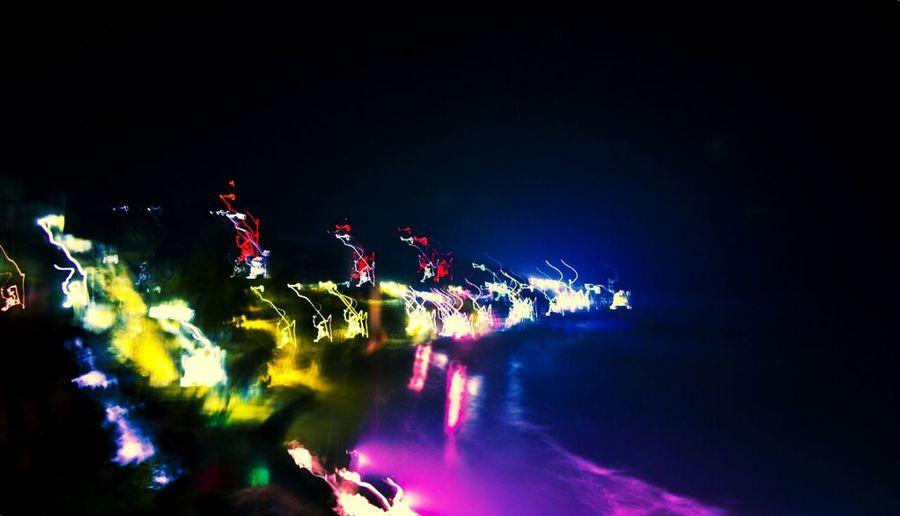 Beach Lights Longexposure Shore