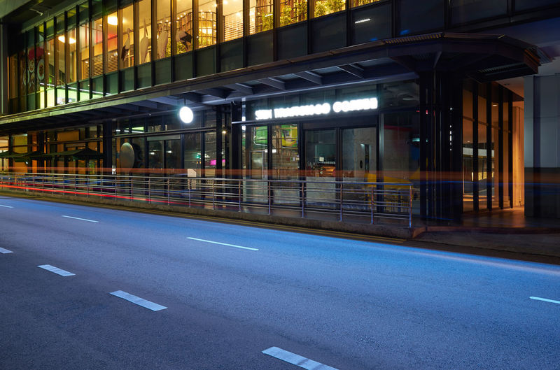 Architecture Transportation Built Structure City Road Building Exterior Illuminated Night No People Street Road Marking Symbol Marking Lighting Equipment Empty Sign Motion Blurred Motion Building Outdoors