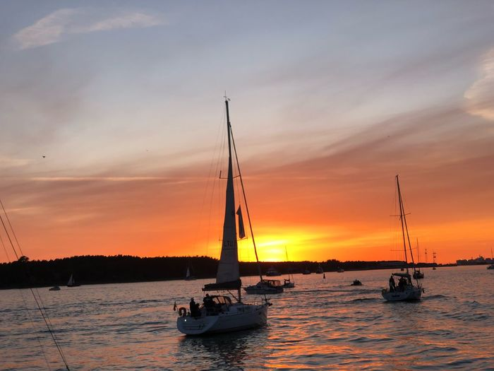 Nautical Vessel Transportation Sky Sunset Mode Of Transportation Water Cloud - Sky Waterfront Sea Beauty In Nature Orange Color Scenics - Nature Nature Sailboat Travel Silhouette Outdoors