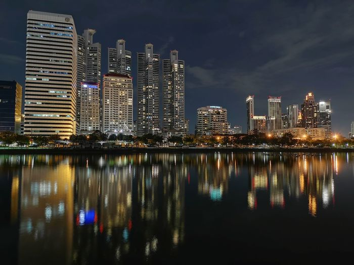 P20 Pro night mode. Water Reflection Huawei P20 Pro Mobilephotography Reflections In The Water Bangkok Light Public Park Cityscape Reflection Lake Skyscrapers City Cityscape Urban Skyline Water Illuminated Modern Skyscraper Reflection Downtown District Sky Office Building Tower Waterfront