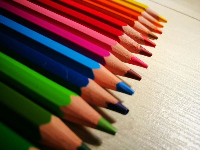 Rainbow pencils 🌈 Pencil Pencils Crayon Crayons Colour Of Life Colourful Colorful Rainbow Pencil Colour Macro Perspective Low Angle View Sunshine Natural Lighting Sunlight Shadow Colour Explosion