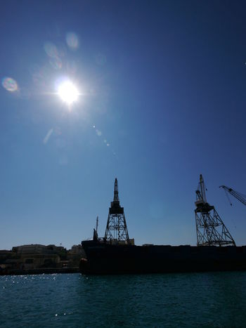 Impressions from island Malta Malta Mediterranean  Architecture Beauty In Nature Building Exterior Built Structure Clear Sky Day Drilling Rig Harbor Lens Flare Malta♥ Nature Nautical Vessel No People Outdoors Scenics Sea Sky Sun Sunlight Water Waterfront