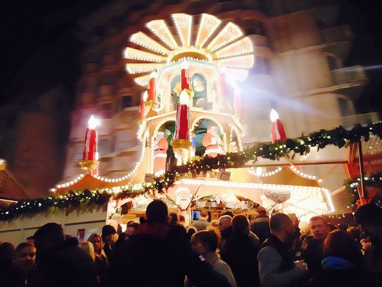 Traveling Home For The Holidays Christmas Market Christmas Lights Large Group Of People City