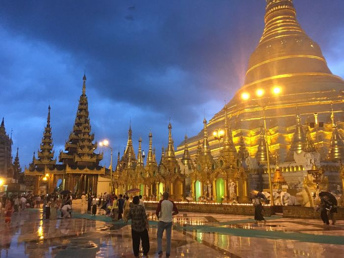 Nightview was even Spectacular in Shwedagon Pagoda Myanmar Yangon Religion Spirituality Architecture Travel Destinations Sky Place Of Worship Tourism Magnificent View Beautifuldestinations Architecture Travel Photography Gold Colored