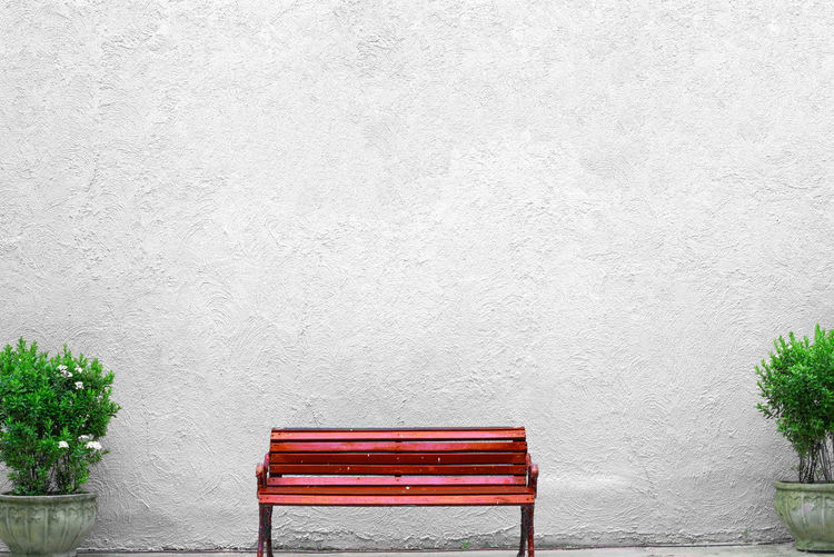 Empty red bench. Bench Cement Wall Copy Space Red Waiting Architecture Built Structure Day Empty Growth Nature No People Outdoors Plant Red Seat White EyeEmNewHere