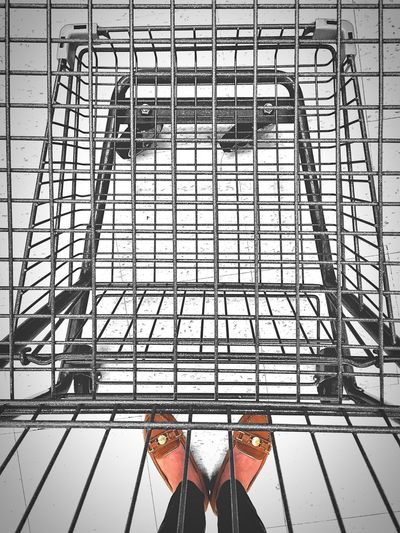 Going food-gathering. Shopping Cart Lines Pattern Cart Lines And Shapes Empty Empty Cart Emptycart Point Of View Pointofview Shoes Feet Grid Metal Loafers Geometric Shapes Metallic Low Angle No People Supermarket Food Carts Foodcart Grocery Cart Shopping Carts Leading Lines Wine Not