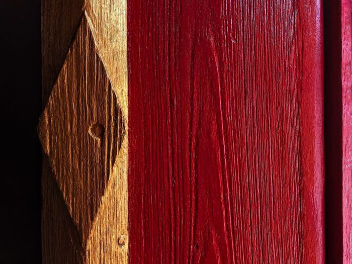 Full frame a part of red wooden door with golden colored handler and copy space for Chinese styled graphic design. Background Copy Space Wooden Golden Color Door Chinese Textured  Red Close-up Wood - Material No People Pattern Day