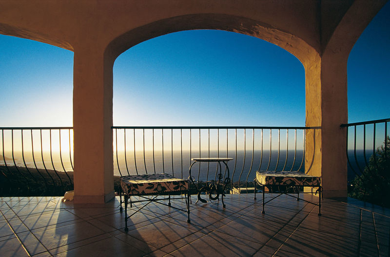 2001 Analogue Photograhy Architecture Terrace Travel Photography Architecture Blue Built Structure Capetown South Africa Chair Clear Sky Day Daylight Deep Sunlight Diascan Evening Sky Furniture Nature No People Seaview Shadow Sky Sunlight