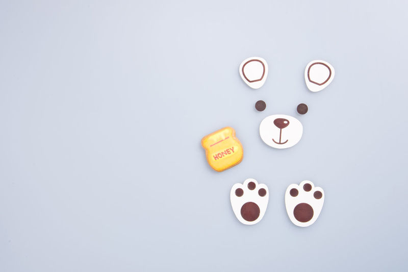 Directly above shot of bear shape food over white background