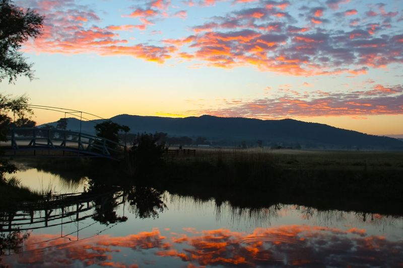 Sunrise at a Mudgee farm Sunset Beauty In Nature Reflection Tranquil Scene Scenics Water Orange Color Nature Sky