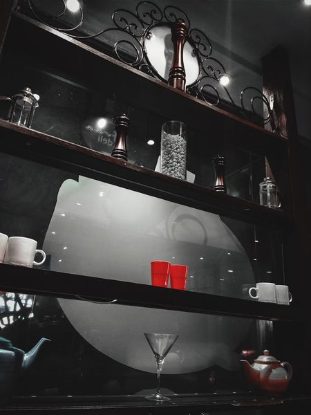 Red Domestic Kitchen Kitchen Indoors  Home Interior Cabinet Domestic Room Espresso Maker Freshness No People Shelf TakenOnPhone Close-up