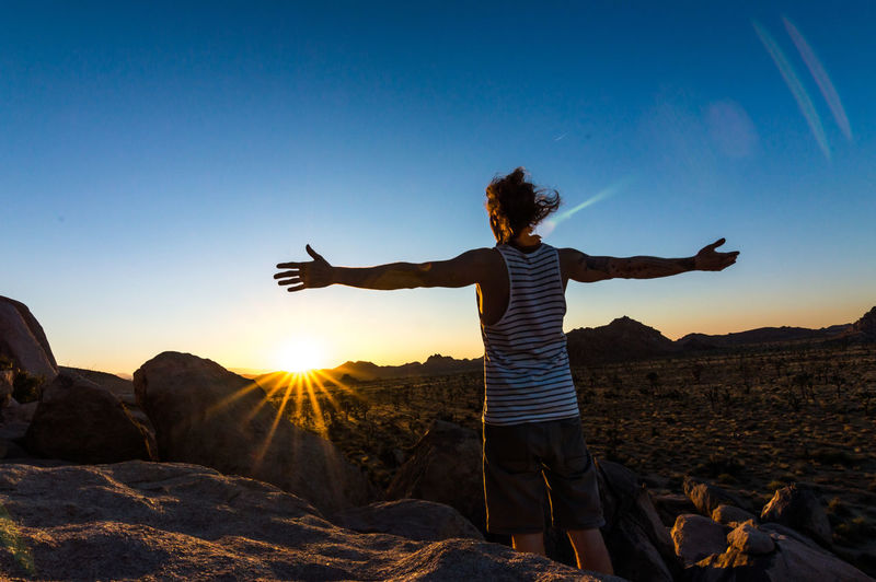 Rear view of man with arms outstretched standing by landscape during sunset