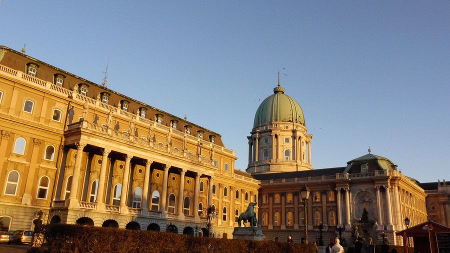 Low angle view of buda castle against sky