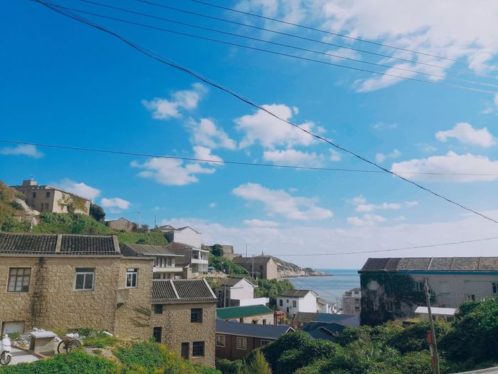 Building Exterior Architecture Built Structure Sky Nature Plant Cloud - Sky Day Building No People Tree Low Angle View Residential District Blue Cable Outdoors House